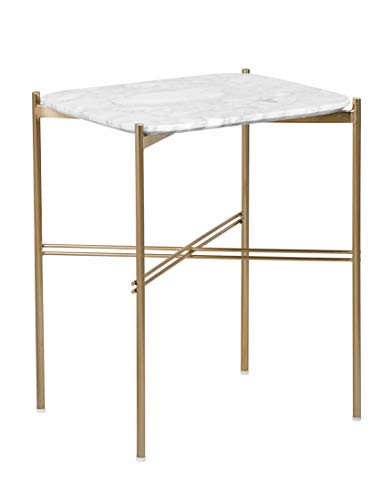 Elle Decor FUST10074A Ophelia Side Table, Gold & Marble