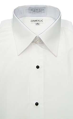 OmegaTux Men's White Microfiber Tuxedo Dress Shirt