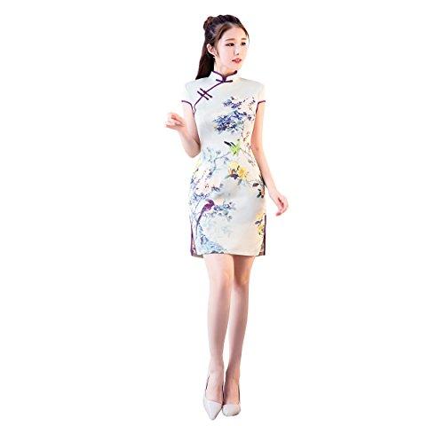 ACVIP Damen Kurze Ärmel Qipao Sommer Retro Cheongsam Mini Partykleid ...