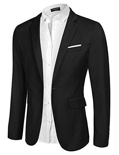 COOFANDY Men's Casual Blazer Jacket Slim Fit Sport Coats Lightweight One Button Suit Jacket (Black, X-Small)