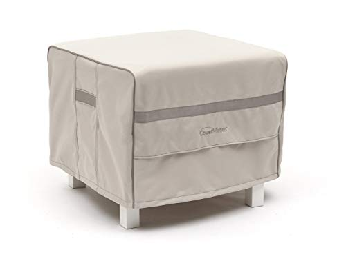 Covermates - Square Patio Accent Table Cover - 24W x 24D x 18H - Prestige - 900D Solution-Dyed Poly - Reinforced Handles - Covered Mesh Vents - 7 YR Warranty - Weather Resistant - Stone (Patio Covered Stone)