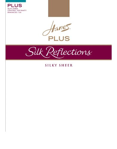 (Hanes Silk Reflections Women's Plus-Size Control Top Enhanced Toe Tights, Barely There, 6 Plus)
