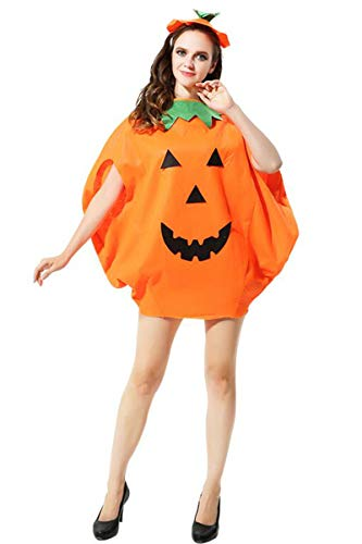 Adult Halloween 2PC Pumpkin Costume Funny Cosplay Party Clothes Orange ()