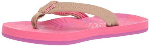 (Reef Girls' Little Footprints Sandal, Pink Palms, 7-8 Medium US Toddler)