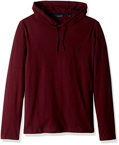 Nautica Men's Long Sleeve Pullover Hoodie Sweatshirt, Seaside Garnet, Large ()