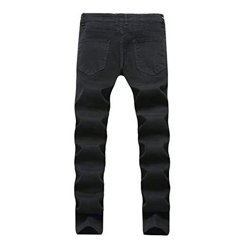 Elasticizzati Uomo Casual Jeans Tempo Moderna Pantaloni Libero Il Da Per Slim Haidean Media Nero Vintage Ssige Vita Denim In A 08qTOvz