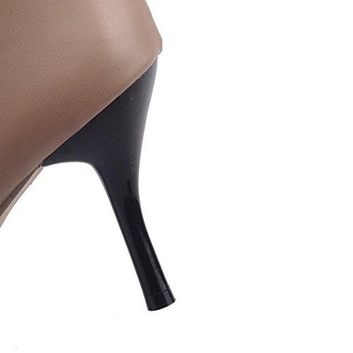 Allhqfashion Womens High-top Cerniera Materiale Morbido Tacco A Punta Stivali Punta Chiusa Beige