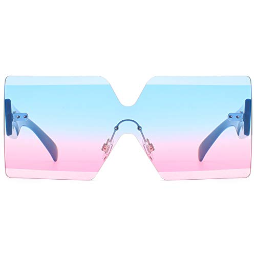 Oversized Square Sunglasses for Women Rimless Frame Candy Color Transparent Glasses(Blue-Pink) (Oversized Square Sunglasses)