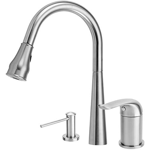 Kitchen Faucet with Soap Dispenser,Kitchen Faucets with Pull Down Sprayer,304 Stainless Steel Brushed Nickel 3 Hole Kitchen Faucet with 17 OZ Sink Soap Dispenser,Single-Handle Kitchen Sink -