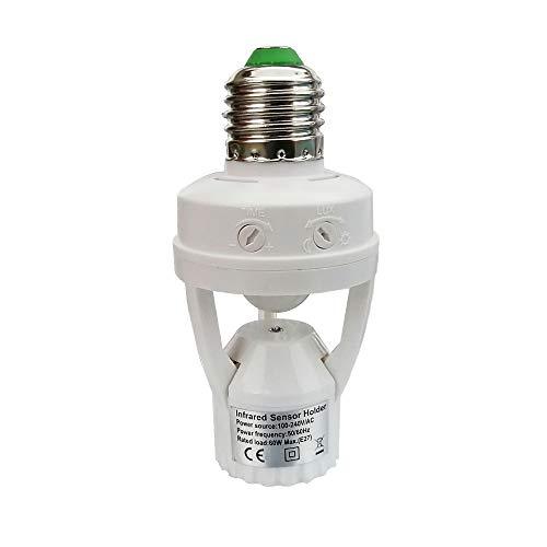 PIR Motion Sensor Light Socket,E27 Smart Lamp Bulb Holder Adapter, Auto On/Off Light Control,Suitable For Garage,Basement,Porch,Storage Room ()