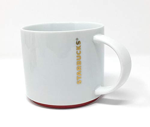 2012 Ceramic Mug - Starbucks Coffee 2012 White w/Gold Letters & Red Rim Stacking Mug 16 fl oz.