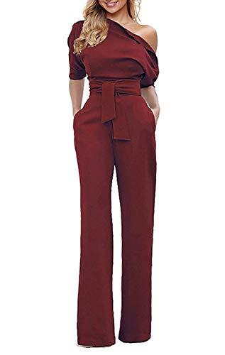 Red Womens Jumpsuit Wide Leg Slanted One Shoulder Belted Jumpsuits Burgundy Medium