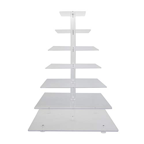 7 Tier Cupcake Tower Stand Clear Acrylic Macaron Cookie Cake Dessert Display Tree Rack for Wedding Birthday Party Baby Shower (Square)
