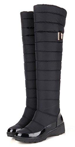 Idifu Mujeres Warm Mid Wedge Tacones De Piel Sintética Gruesas Sobre La Rodilla Botas De Nieve Largas Botines De Invierno Negro