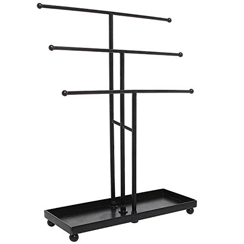 Smarthome Modern Black Metal 3 Tier Tabletop Bracelet & Necklace Jewelry Organizer Display Tree Rack w/Ring Tray
