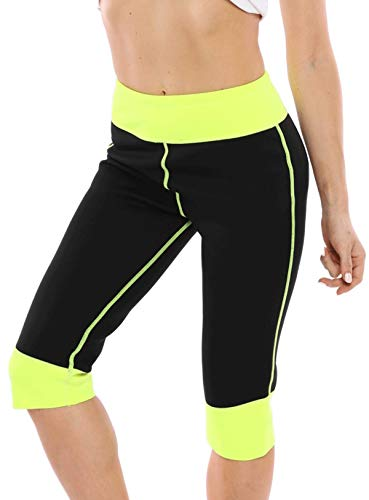 Pneacimi Women's Weight Loss Neoprene Hot Sauna Shorts Workout Thermo Pants with Phone Pockets (M, Black)