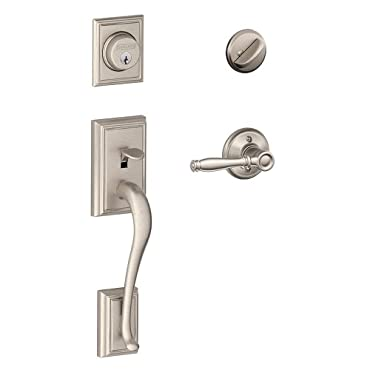 Addison Single Cylinder Handleset and Birmingham Lever, Satin Nickel (F60 ADD 619 BIR)