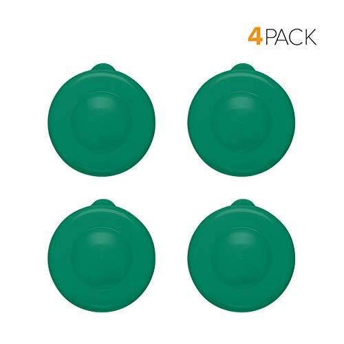 Brio Dew Cap Crown Top Replacement Cap - 4 Pack - 55mm Snap On Cap for Crown top lids for 3 & 5 Gallon Water Bottles (Dark Green)