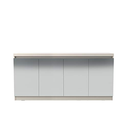 Manhattan Comfort 105955 Viennese Large Dining Room Mirrored Buffet Cabinet Off-White