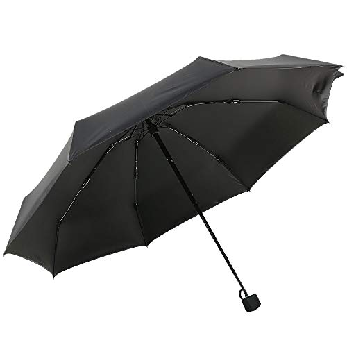 YUI Compact Travel Umbrella 99% UV Protection Parasol Anti-UV Coating Folding Umbrella Lightweight Small Suit for Pocket Black