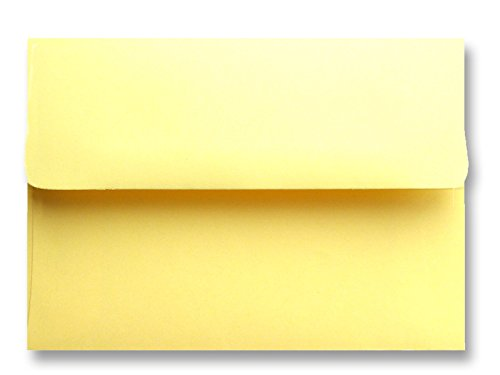 Shipped Free - 50 Pastel Baby Yellow A2(4-3/8 x 5-3/4) Envelopes for 4-1/8 x 5-1/2 Response Cards, Invitations Announcements, Weddings Showers, Greeting Cards from The Envelope Gallery