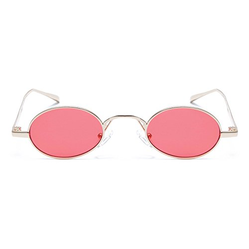 Gobiger Oval Small Frame Sunglasses Fashion Designer Shades for Women Men (Gold Frame/Red Lens) (Faces Slim For Sunglasses)