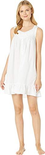 Eileen West Women's Cotton Woven Sheer Stripe Short Chemise Solid White Small (West Short Eileen)