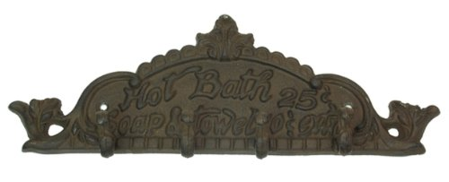 Hot Bath Decorative Sign Wall Mounted Hooks Indoor Outdoor Metal Plaques Heavy Duty Coat Hats Keys Hanger Holder Vintage Antique Ornament Accent