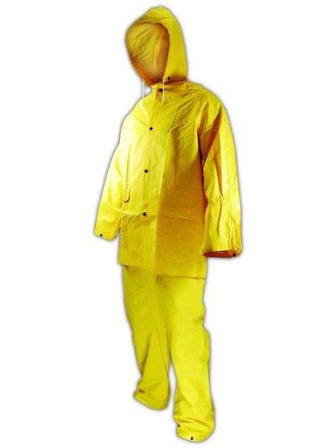 - Magid 3014L RainMaster Vinyl Coated 3 Piece Rain Suit, Snap Front Jacket, Bib Pant and Detachable Hood, Large, Yellow