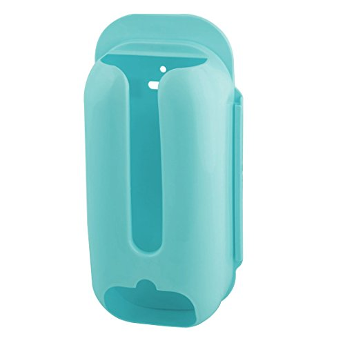 uxcell Plastic Household Kitchen Self Adhesive Hanging Garbage Bag Storage Holder Blue