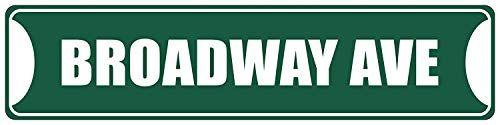 HarrodxBOX Broadway Ave Black Decorative Address Sign Modern Stree Sign for Home Decor Wall Art Metal Tin Sign 4 x 18]()