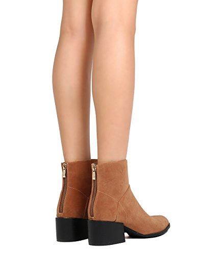 Alrisco Fh81 Donna Faux Suede Punta A Punta Tacco Grosso Bootie Cammello