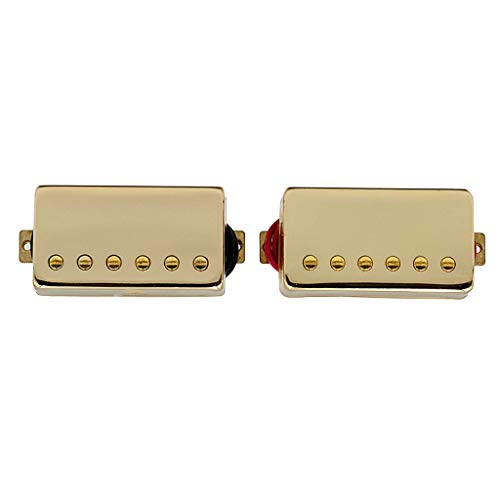 (kesoto Pack of 2 Sealed Electric Guitar Single Coils Pickups Golden 50/52.5 with Mounting Screws Lutheir Supply)