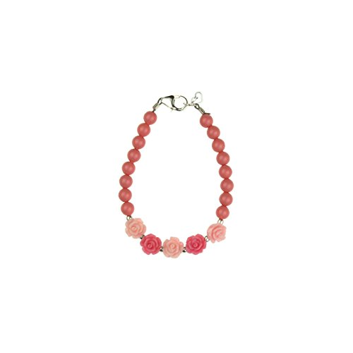 Coral Rose Pearl (Crystal Dream Elegant Stylish Sterling Silver Baby Girl Bracelet made with Coral Swarovski Simulated Pearls Pink with Rose Flowers(B100-CFPR_M))