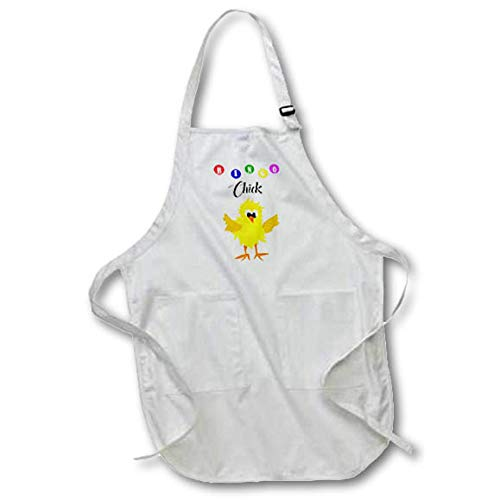 3dRose All Smiles Art Sports and Hobbies - Funny Bingo Chick Playing Bingo Cartoon - Full Length Apron with Pockets 22w x 30l (apr_288050_1) by 3dRose