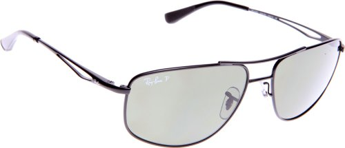 Ray Ban Men's Rb3490 Matte Black Frame/Polarized Green Lens Metal Sunglasses, 59mm