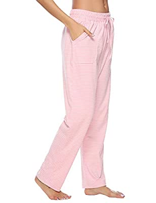 Hawiton Women's Striped Drawstring Sleep Pants Cotton Pj Bottoms with Pockets