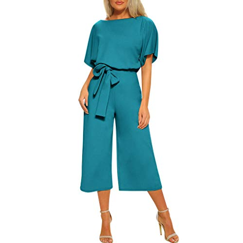 Tantisy ♣↭♣ Women's Elegant High Waist Short Sleeve Jumpsuit Casual Wide Leg Pants Loose Rompers with Belt Sky Blue
