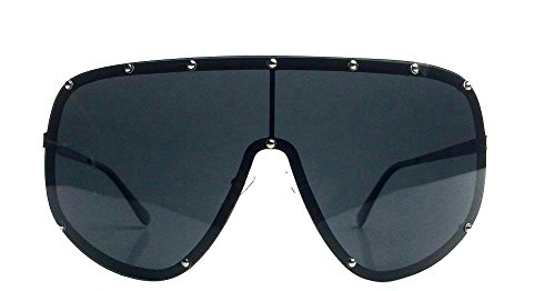 Stud Shield (Oversized XXL Huge Large Shield Wrap Designer Womens Polarized Sunglasses (Black))