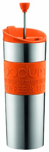 Bodum Double-Wall Stainless Steel Travel Coffee and Tea Press with Bonus Lid, 0.45L, 16oz, Orange