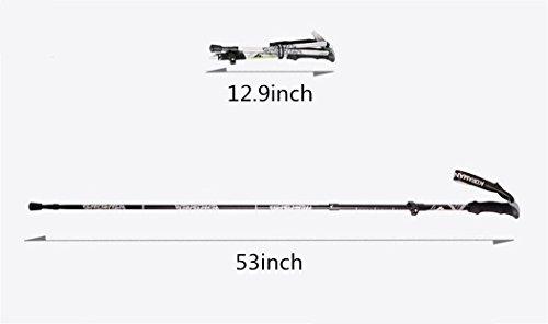 "KORAMAN Folding Hiking Walking Trekking Pole Ultralight Adjustable Alpenstocks (12.9"" to 53"",0.6lb) (sliver, one pair)"