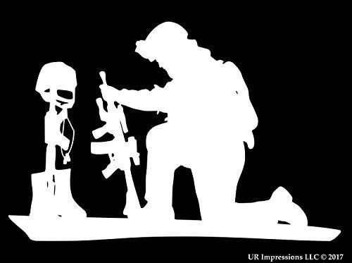 UR Impressions MWht 11.1in. Soldier Praying Over Battlefield Cross Decal Vinyl Sticker Graphics for Cars Trucks SUV Vans Walls Windows Laptop|Matte White|11.1 X 7.5 Inch|URI694-MW ()