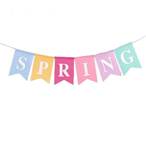 Spring Banner Hessian Bunting Banner for Celebrating the Arrival of Spring (Spring Garland)