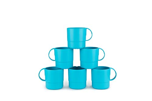 Amuse- Eco Friendly Sturdy Unbreakable & Stackable Mugs for Water, Coffee, Milk, Juice, Tea- Set of 6-11 oz (Turquoise) ()
