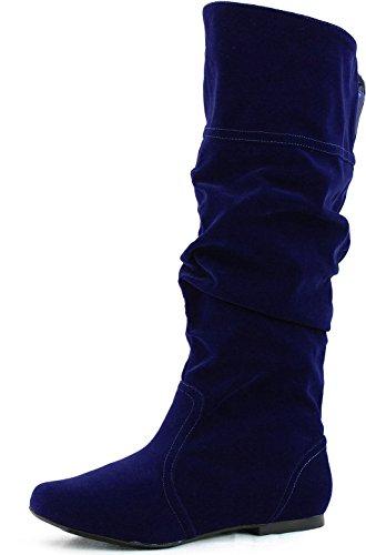 Qupid Neo-144 Vegan Leather Slouchy Almond Toe Mid Calf Slip On Blue Elastic...