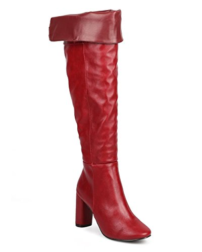 Breckelles Dg07 Kvinnor Läder Över Knäet Foldover Blocket Klack Skräddarsydd Boot Red