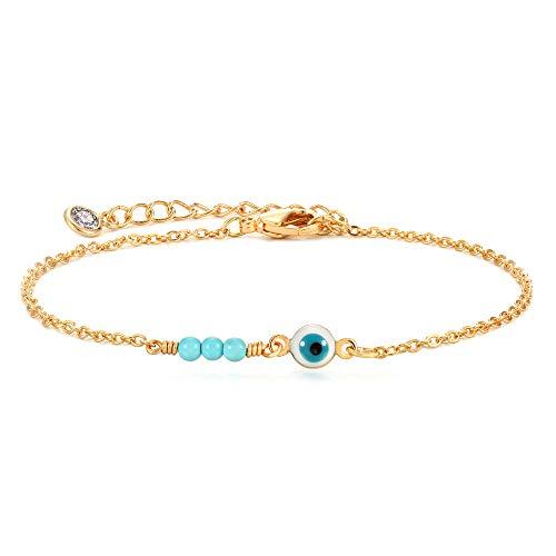 Gold Dainty Evil Eye Bracelet,Tiny Cute Elegant Three Turquoise Protection Fatima Bracelet for Women