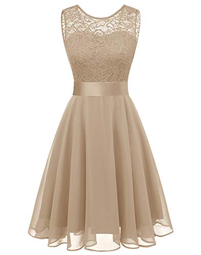 BeryLove Women's Short Floral Lace Bridesmaid Dress A-line Swing Party DressBLP7005ChampagneM