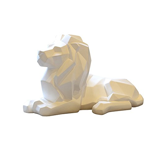 8.1-inch high geometric resin lion sculpture animal statue