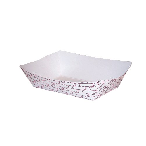 Boardwalk BWK 30LAG040 6 oz Red Weave Paper Food Tray